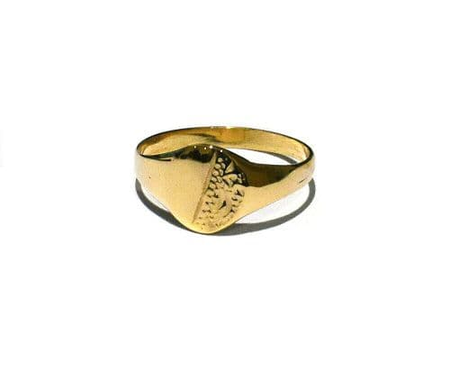 Baby Childs Oval Signet Ring Solid 9ct Yellow Gold Size B-G Handmade